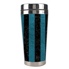 Stripes1 Black Marble & Teal Leather Stainless Steel Travel Tumblers by trendistuff