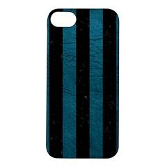 Stripes1 Black Marble & Teal Leather Apple Iphone 5s/ Se Hardshell Case by trendistuff
