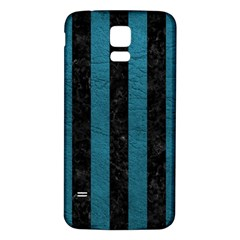 Stripes1 Black Marble & Teal Leather Samsung Galaxy S5 Back Case (white)