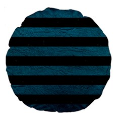 Stripes2 Black Marble & Teal Leather Large 18  Premium Round Cushions by trendistuff
