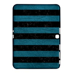 Stripes2 Black Marble & Teal Leather Samsung Galaxy Tab 4 (10 1 ) Hardshell Case  by trendistuff