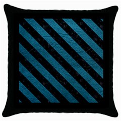 Stripes3 Black Marble & Teal Leather Throw Pillow Case (black) by trendistuff