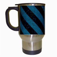 Stripes3 Black Marble & Teal Leather Travel Mugs (white) by trendistuff