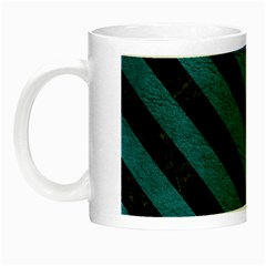 Stripes3 Black Marble & Teal Leather Night Luminous Mugs by trendistuff
