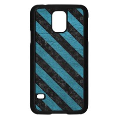 Stripes3 Black Marble & Teal Leather Samsung Galaxy S5 Case (black) by trendistuff