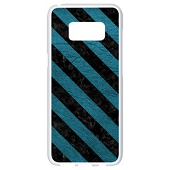 Stripes3 Black Marble & Teal Leather Samsung Galaxy S8 White Seamless Case by trendistuff