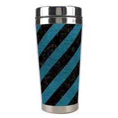 Stripes3 Black Marble & Teal Leather (r) Stainless Steel Travel Tumblers by trendistuff