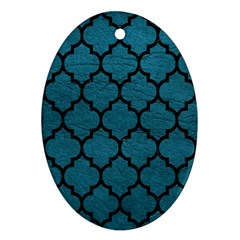Tile1 Black Marble & Teal Leather Oval Ornament (two Sides) by trendistuff