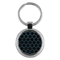 Tile1 Black Marble & Teal Leather (r) Key Chains (round)