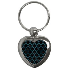 Tile1 Black Marble & Teal Leather (r) Key Chains (heart)  by trendistuff