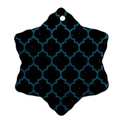 Tile1 Black Marble & Teal Leather (r) Snowflake Ornament (two Sides) by trendistuff