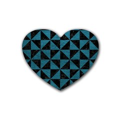 Triangle1 Black Marble & Teal Leather Heart Coaster (4 Pack)  by trendistuff