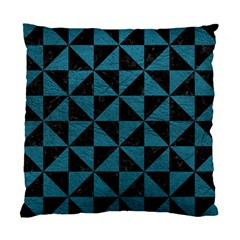 Triangle1 Black Marble & Teal Leather Standard Cushion Case (one Side) by trendistuff