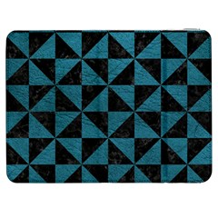 Triangle1 Black Marble & Teal Leather Samsung Galaxy Tab 7  P1000 Flip Case by trendistuff