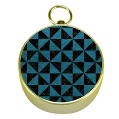 Triangle1 Black Marble & Teal Leather Gold Compasses by trendistuff