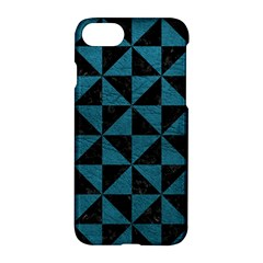 Triangle1 Black Marble & Teal Leather Apple Iphone 8 Hardshell Case by trendistuff