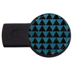 Triangle2 Black Marble & Teal Leather Usb Flash Drive Round (4 Gb) by trendistuff