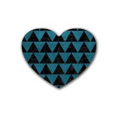 Triangle2 Black Marble & Teal Leather Rubber Coaster (heart)  by trendistuff