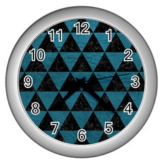 Triangle3 Black Marble & Teal Leather Wall Clocks (silver)  by trendistuff