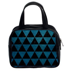 Triangle3 Black Marble & Teal Leather Classic Handbags (2 Sides) by trendistuff