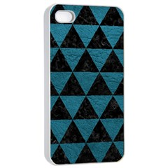 Triangle3 Black Marble & Teal Leather Apple Iphone 4/4s Seamless Case (white) by trendistuff