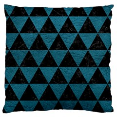 Triangle3 Black Marble & Teal Leather Large Cushion Case (two Sides) by trendistuff