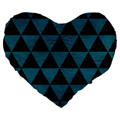 Triangle3 Black Marble & Teal Leather Large 19  Premium Flano Heart Shape Cushions by trendistuff