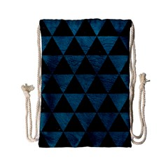 Triangle3 Black Marble & Teal Leather Drawstring Bag (small) by trendistuff