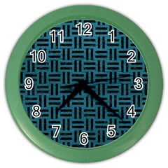 Woven1 Black Marble & Teal Leather Color Wall Clocks by trendistuff