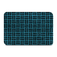 Woven1 Black Marble & Teal Leather Plate Mats by trendistuff