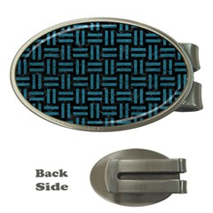 Woven1 Black Marble & Teal Leather (r) Money Clips (oval)  by trendistuff