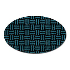 Woven1 Black Marble & Teal Leather (r) Oval Magnet by trendistuff
