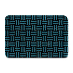 Woven1 Black Marble & Teal Leather (r) Plate Mats by trendistuff