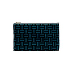 Woven1 Black Marble & Teal Leather (r) Cosmetic Bag (small)