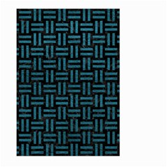 Woven1 Black Marble & Teal Leather (r) Large Garden Flag (two Sides) by trendistuff