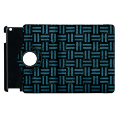 Woven1 Black Marble & Teal Leather (r) Apple Ipad 3/4 Flip 360 Case by trendistuff