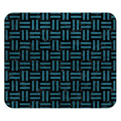 Woven1 Black Marble & Teal Leather (r) Double Sided Flano Blanket (small)  by trendistuff