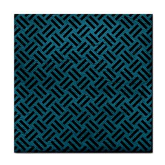 Woven2 Black Marble & Teal Leather Tile Coasters by trendistuff