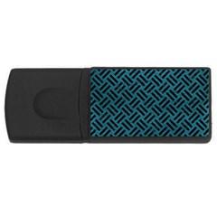 Woven2 Black Marble & Teal Leather Rectangular Usb Flash Drive by trendistuff