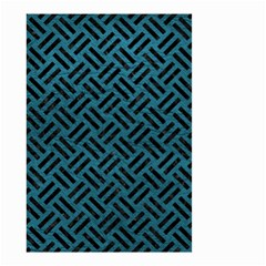 Woven2 Black Marble & Teal Leather Small Garden Flag (two Sides) by trendistuff