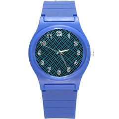 Woven2 Black Marble & Teal Leather Round Plastic Sport Watch (s) by trendistuff