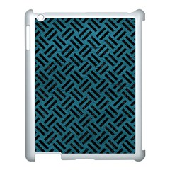 Woven2 Black Marble & Teal Leather Apple Ipad 3/4 Case (white) by trendistuff