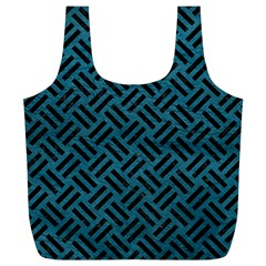 Woven2 Black Marble & Teal Leather Full Print Recycle Bags (l)  by trendistuff