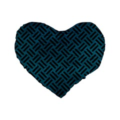 Woven2 Black Marble & Teal Leather Standard 16  Premium Flano Heart Shape Cushions by trendistuff
