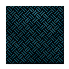 Woven2 Black Marble & Teal Leather (r) Tile Coasters by trendistuff
