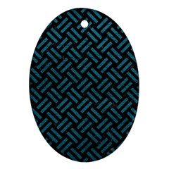 Woven2 Black Marble & Teal Leather (r) Ornament (oval)
