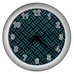 Woven2 Black Marble & Teal Leather (r) Wall Clocks (silver)  by trendistuff