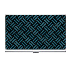 Woven2 Black Marble & Teal Leather (r) Business Card Holders