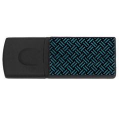 Woven2 Black Marble & Teal Leather (r) Rectangular Usb Flash Drive by trendistuff