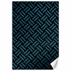 Woven2 Black Marble & Teal Leather (r) Canvas 12  X 18   by trendistuff